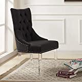 Armen Living LCGOCHBL Gobi Dining Chair in Black Velvet and Acrylic Finish