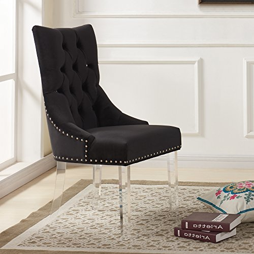 Armen Living Gobi Modern and Contemporary Tufted Dining Chair, Black/Acrylic Finish
