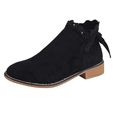 huge selection of 076a2 c95bf Anglewolf Fashion Women's Bow Lace Ankle Boots Flat Casual ...