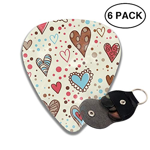 351 Shape Medium Classic Celluloid Picks, 6 Pack, Dotted Hearts Guitar Picks for electric guitar, acoustic guitar, mandolin, and bass -