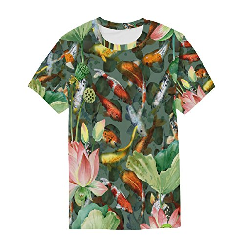shirt Koi Carps Fish Man manica Casual Fiore Acquerello T Multicolor Choker corta Alaza 60EqnxOn