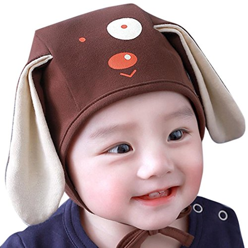 Gallity Toddler Infant Unisex Cartoon Dog 3D Ears Beanie Headgear Hat Cap Earflaps For Baby Boys Girls (Coffee)