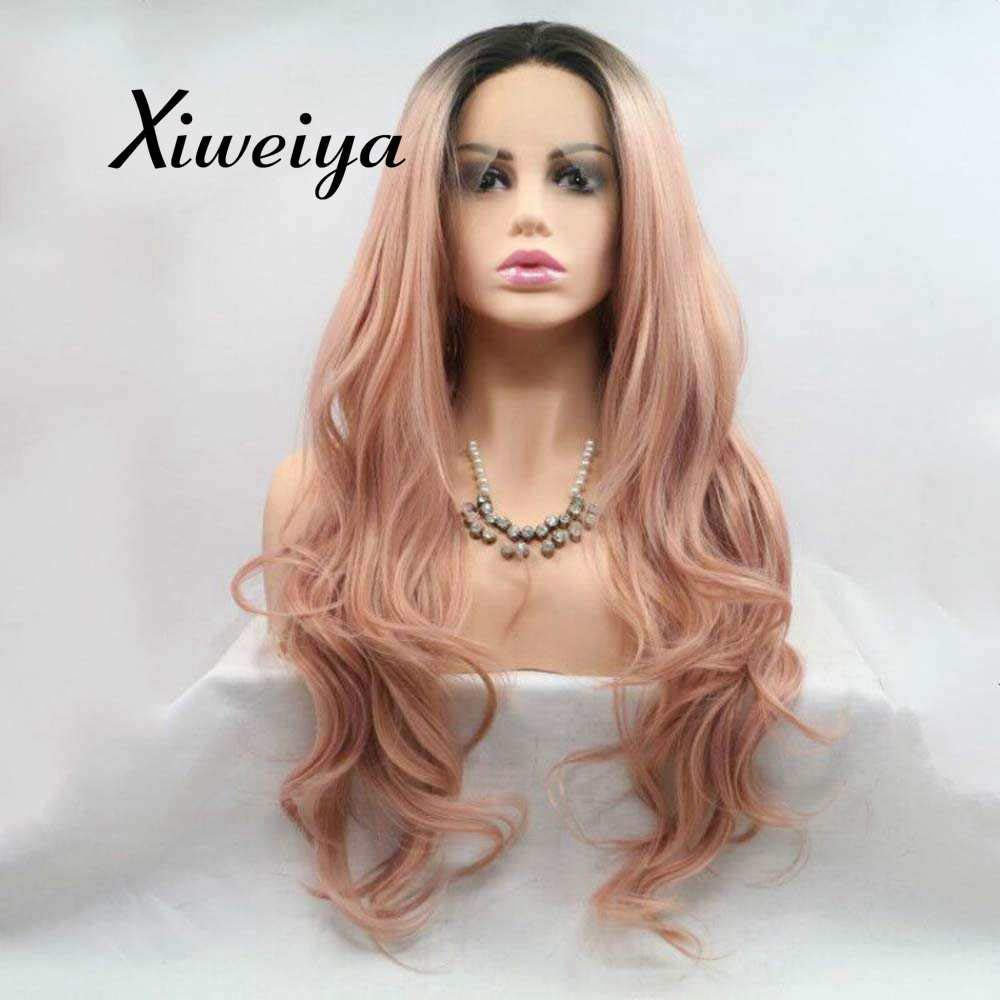 Xiweiya Long Rose Gold Pink Lace Wig Synthetic Rose Gold Pink Lace Front Wigs Middle Part Heat Resistant synthetic wig long Rose Gold Pink hair Graceful mermaid hair replacement wig soft wig 24inch by xiweiya