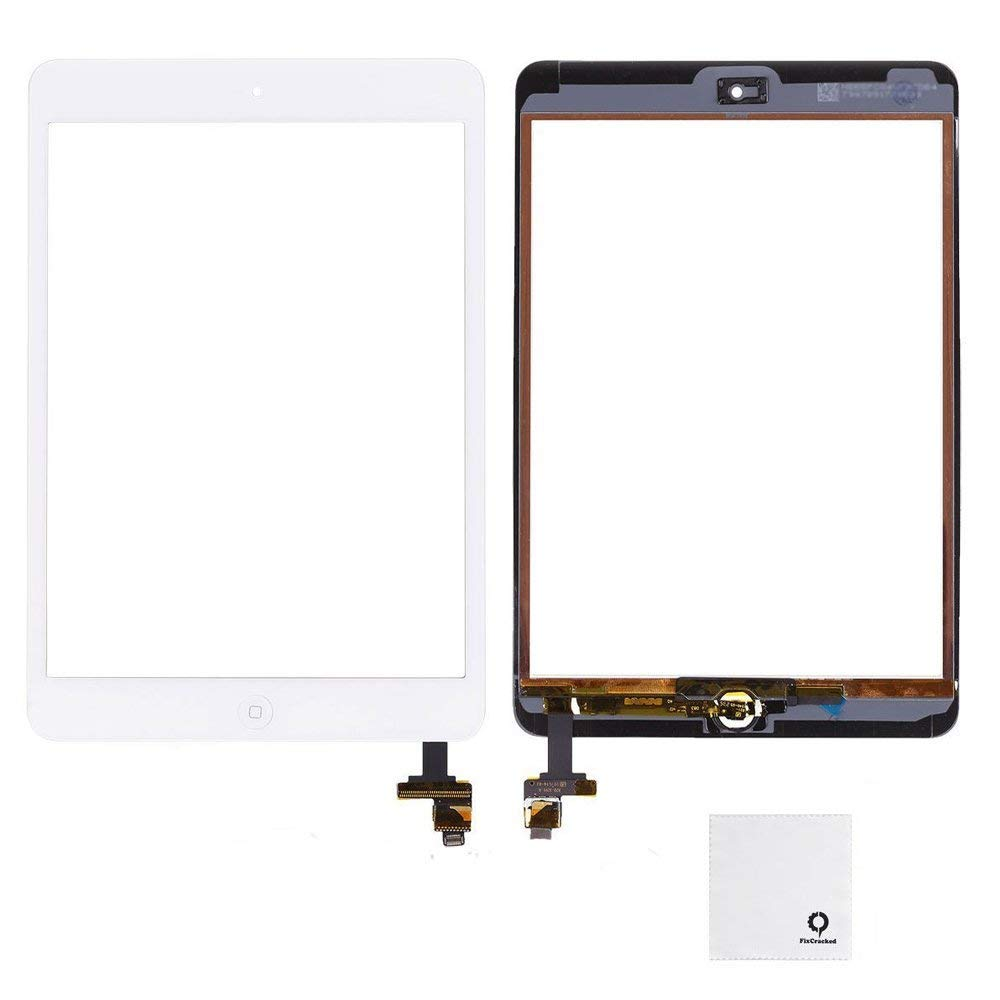 FixCracked for iPad Mini Screen Replacment,Glass Screen Digitizer Complete Full Assembly for iPad Mini & Mini 2 with IC Chip, Home Button, Adhesive-White