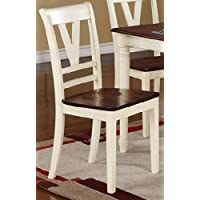Poundex Contemporary Creamy White and A Cherry Wood Finish Dining Chairs, Set of 2