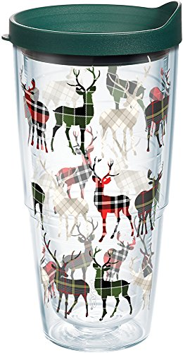 Plaid Richmond - Tervis 1162777 Plaid Reindeer Tumbler with Wrap and Hunter Green Lid 24oz, Clear