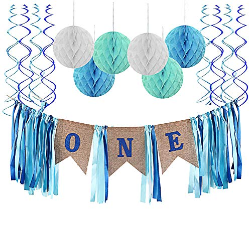 (Fecedy Alphabet ONE Burlap Ribbon Tassel Banner Honeycomb Ball and Swirls Streamers for Baby Boy's 1st Birthday Party Decorations)