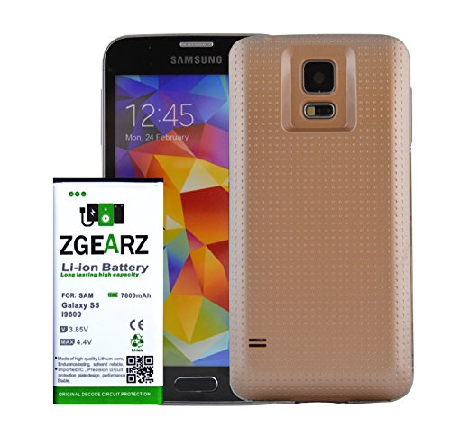 Samsung Galaxy S5 Extended Battery with 7800 mAH Battery Pack by Mobile Charger. Use it as cell phone battery replacement for your Samsung S5. (Gold) (Telephone Number For Amazone)