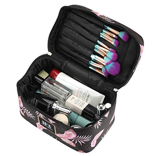 DRQ Makeup Bag Portable Travel Cosmetic Bag Makeup Organizer Case with Mirror Large Toiletry Bags Zipper Pouch Makeup Bag Organizer
