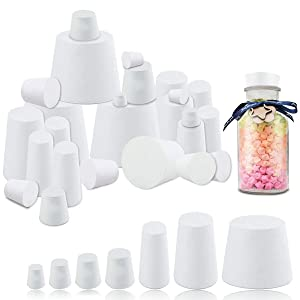 YG_Oline 32 Pack 000# - 7# Solid Rubber Stoppers, 10 Assorted Sizes White Stoppers Lab Tube Bottle Stopper