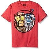 Star Wars Big Boys' R2-d2 and C-3po Droids Cartoon T-Shirt, Red Heather, M