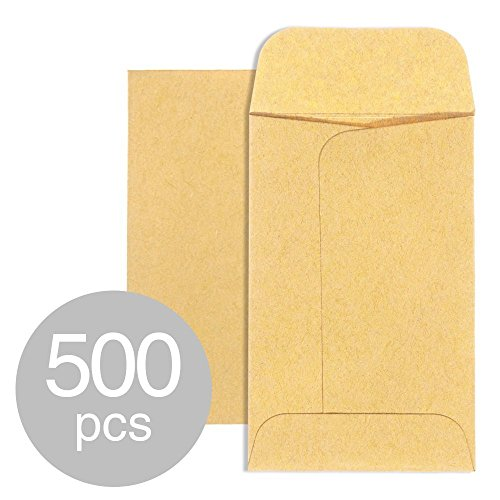ACKO #5 Coin Envelopes 3 1/8 x 5 1/2 Small Parts Envelope with Gummed Flap for Home, Garden or Office Use, Brown Kraft Seed Envelopes Tip Envelopes 500packs