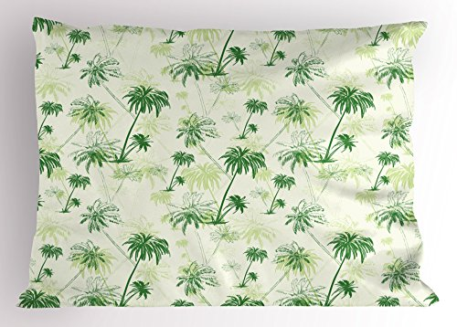 Ambesonne Hawaii Pillow Sham, Sketch Palm Tree North Pacific Ocean Foliage Abstract Monochrome Design, Decorative Standard King Size Printed Pillowcase, 36 X 20 Inches, Forest Green Pale Green by Ambesonne