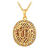 Women Rhinestone Inlaid Oval Hollow Allah Pendant Necklace with 22 Inch 18K Gold Plated Chain