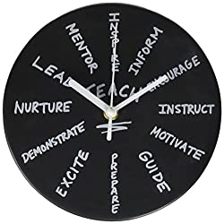 Enesco Our Name is Mud Teach Battery-Operated, 4 Inches Wall Clock, Multicolor