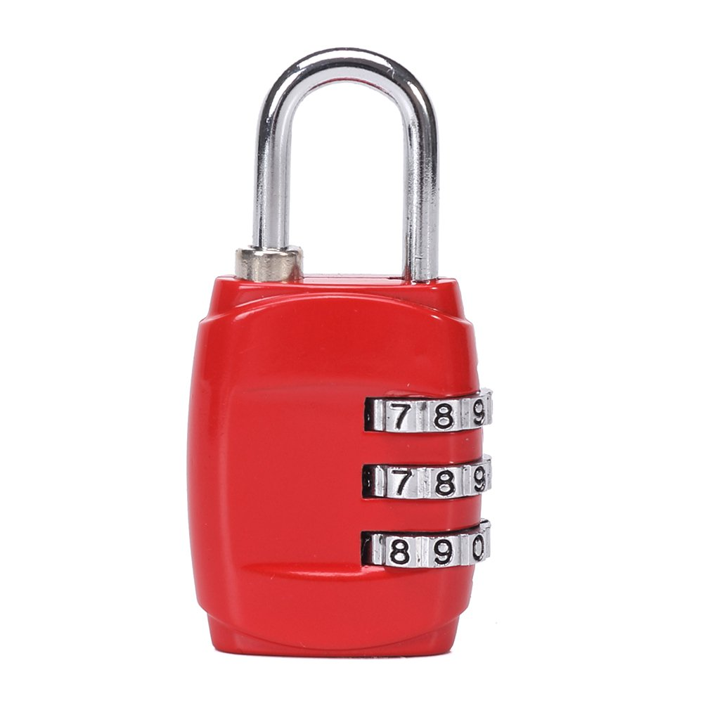 Cestval 3 Digital Combination Locks Luggage padlock Number Code Lock for Travel Suitcases Luggage Bag Bagage School Gym Lockers Filing Cabinets Toolbox Mailbox Case Door Fence Hasp Cabinet Storage 1 Pack(Pink)