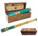 Brass Nautical - 18 inches Brass Ship Captain's Telescope Brass Spyglass in Hardwood Box