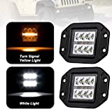 "Liteway 2x 4Inch 36W CREE Flood LED Work Light Flush Mount Driving Light Cube Pod Lamp Side Marker Turn Signal Light DRL 4WD Offroad Truck SUV UTE 5"", 1 Year Warranty"