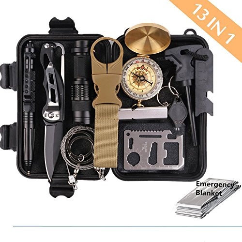 Survival Gear Kits 13 in 1- Outdoor Emergency SOS Survive Tool for Wilderness /Trip / Cars / Hiking / Camping gear – Wire Saw, Emergency Blanket, Flashlight, Tactical Pen, Water Bottle Clip ect.,