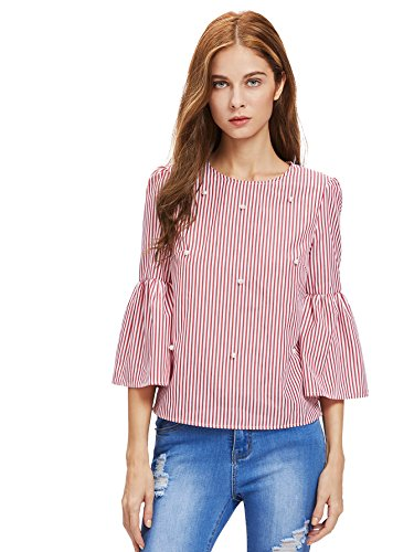 Beading Top - Floerns Women's Bell Sleeve Beading Casual Blouse Top Red and White M