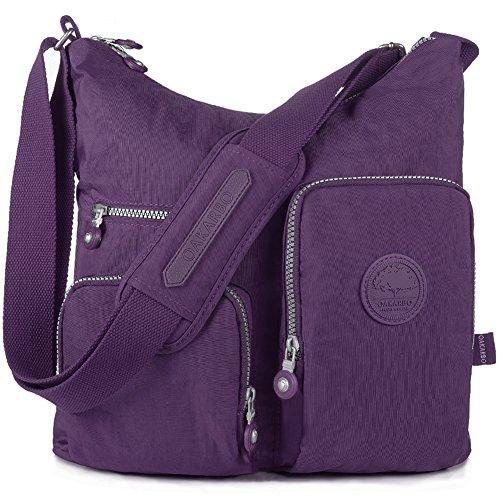 Nylon Crossbody Bag Multi-Pocket Travel Shoulder Bag (1204 Vivid - Purple Bag Cross Body