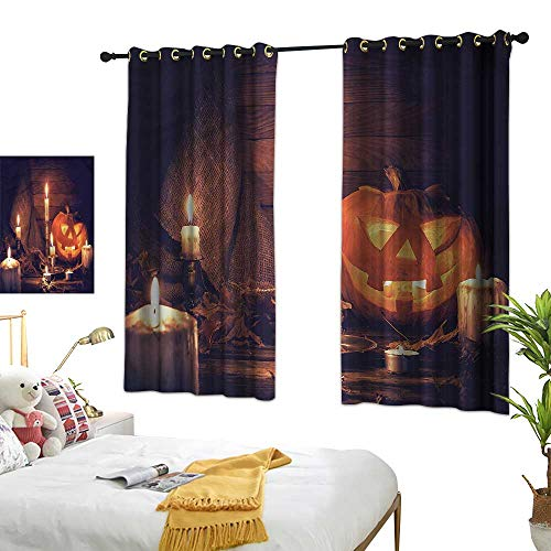 Black Curtains Halloween,Wood Planks and Candles 72
