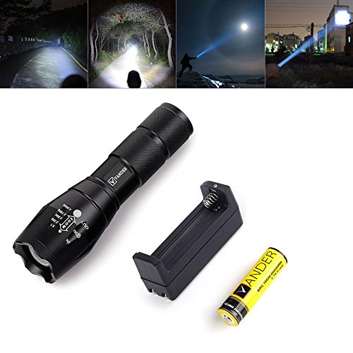 Vander Professional Zoomable LA 2000LM XM-L T6 LED Flashlight Torch+2 x 18650 3000mAh Rechargeable Lithium Batteries+AC 110V Wall Charger Kit