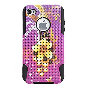 LCJ Flower Style Protective Silicone Lagging Hard Case for iPhone 4 and 4S (Pink)