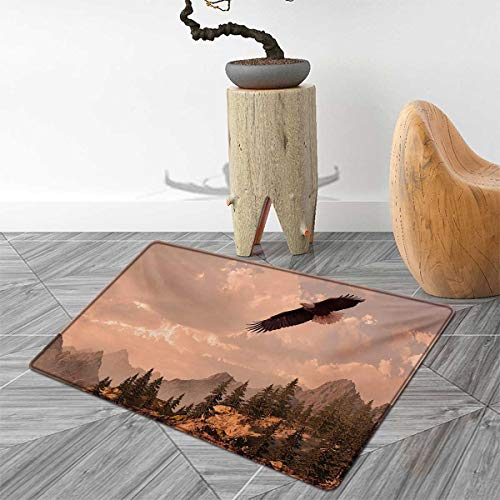 Eagle Door Mat Rug Nature Photography of Rocky Mountains and Forest with a Bald Eagle Flying Over It Bath Mat 3D Digital Printing Mat 4'x6' Rose Green ()
