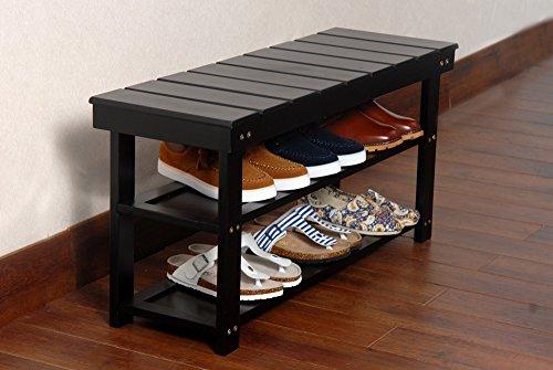 black finish 2 tier solid wood storage shoe bench shelf new ebay. Black Bedroom Furniture Sets. Home Design Ideas