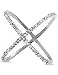 Sterling Silver .925 Women's Criss Cross X Pave Set Cubic Zirconia CZ Fashion Ring Sizes 5-10