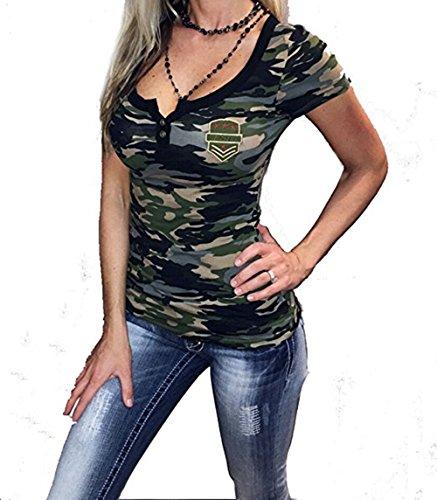 Price comparison product image Women's Streetwear Blouse Short Sleeve Henley T-Shirt Fashion 2017 (L)