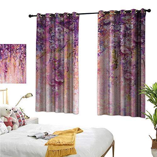 Warm Family Thermal Curtains Flower,Watercolor Painting Effect Wisteria Tree Blossoms Soft Scenic Spring Display,Pink Violet Purple 84