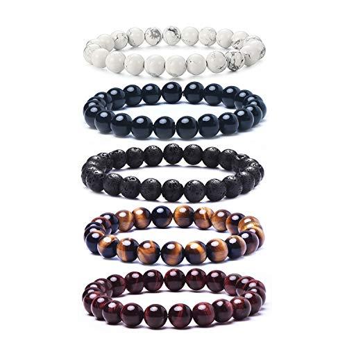 Tigerstar Natural Lava Rock Beads Bracelet,Stretch Elastic Bracelets,Adjustable Braided Rope Gemstone Bracelets for Men Women (5Pcs Set-001)