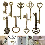 9Pcs Antique Vintage Skeleton Keys Bronze Charm Pendants For DIY Jewelry Making