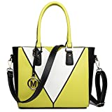 Miss Lulu Women's Leather Look V-Shape Shoulder Handbag Large Yellow