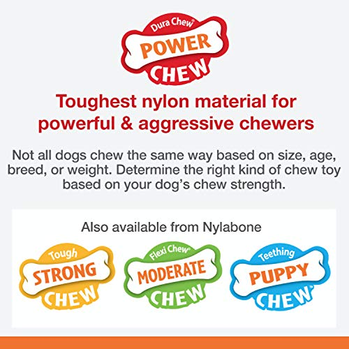Nylabone Classic Power Chew Flavored Durable Dog Chew Toy, Peanut Butter, 1 count, Giant, Large: Up to 50 lbs, White, Model:NPB104P
