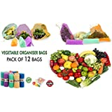 Exceller Siotm Set Of 6 Multi-Purpose Pull String Mesh Fridge Vegetable Storage Bags (2 Pack) Large (12 Bags)