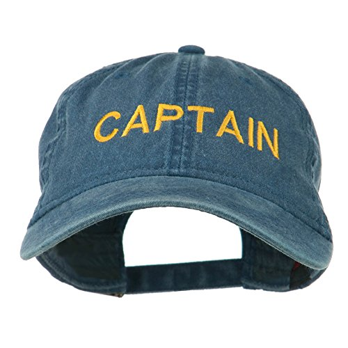 e4Hats.com Captain Embroidered Low Profile Washed Cap - Navy OSFM