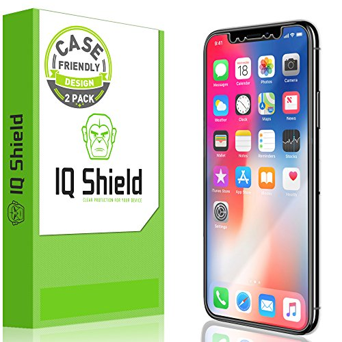 IQShield Screen Protector Compatible with iPhone X (2-Pack)(Case Friendly) LiquidSkin Anti-Bubble Clear Film