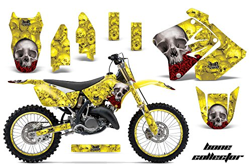 AMR Racing Graphics Kit for MX Suzuki RM250 2001-2009 WITH NUMBER PLATES BONE COLLECTOR YELLOW