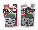 Gambling Electronic Game Pack - Mega Screen Solitaire Handheld Game & 7 in 1 Poker Handheld Game