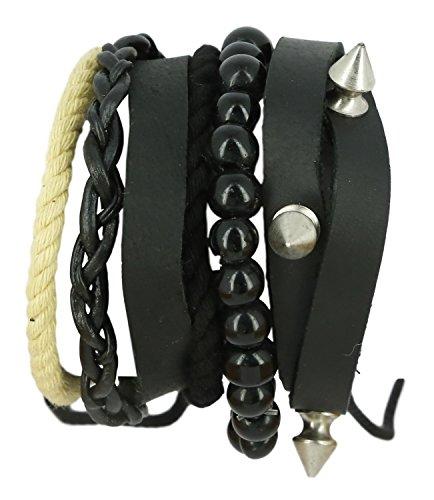 ShalinIndia Black and Tan Leather Bracelet - Handmade - Layered Wrapped Bracelet - Boys & Young Men ()