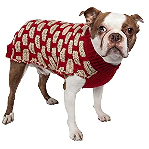 PET LIFE 'Fashion Weaved' Heavy Knit Fashion Designer Ribbed Turtle Neck Pet Dog Sweater, Large, Red and Beige Click on image for further info.
