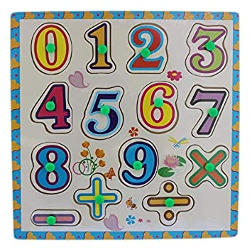 Tootpado Wooden Number Puzzle Board with peg Knobs - (1TNG86)