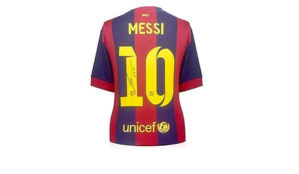 2014-15 de Barcelona camiseta de fútbol firmada por Lionel Messi: Amazon.es: Deportes y aire libre