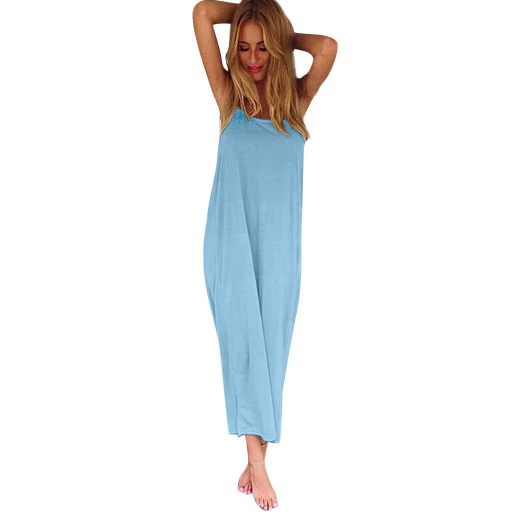 Womens Spaghetti Strap Maxi Dress Casual Loose Cami Long Summer Beach Maxi Dress Plain Flowy Long Skirt Beach Wear