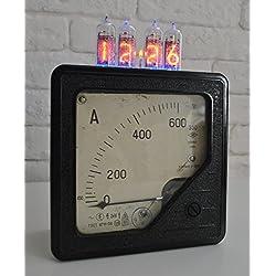 Nixie Tube Clock handmade by UpCrafts Studio Design - Unique handmade Steampunk Vintage Classic Industrial clocks - kit Alarm led 24 hour vacuum - Black color USSR Soviet Union 1960s carbolite case