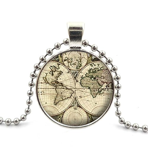 - Precious Stone World Map Old Antique Atlas Picture Vintage Design Silver Necklace for Valentine's Day by Double Love