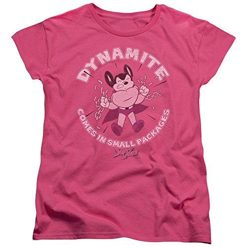Trevco Mighty Mouse-Dynamite - Short Sleeve Womens Tee - Hot Pink, Small